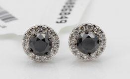 9K WHITE GOLD BLACKWHITE DIAMOND HALO STUD EARRINGS