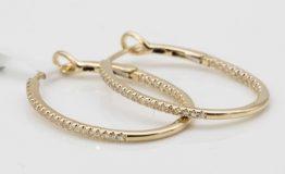 9K YELLOW GOLD DIAMOND HOOP EARRINGS