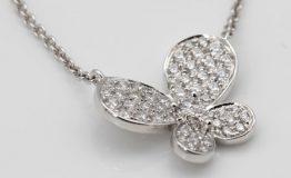 18K WHITE GOLD DIAMOND BUTTERFLY NECKPIECE