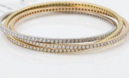18K YELLOWROSEWHITE DIAMOND 3 IN 1 BANGLE